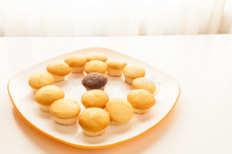Tasty yellow muffins and chocolate muffin in center. Tasty muffins in the plate on the table near to window with natural sun light stock images