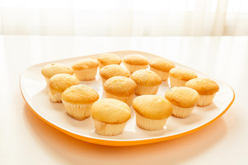 Tasty yellow muffins in a white plate. Tasty muffins in the plate on the table near to window with natural sun light royalty free stock photo