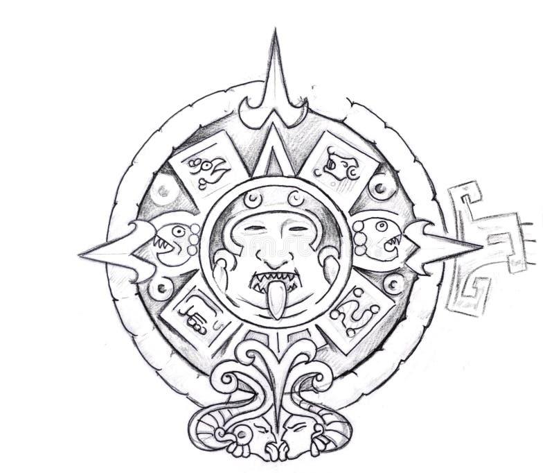 Tatúe el arte, bosquejo de un sol azteca libre illustration
