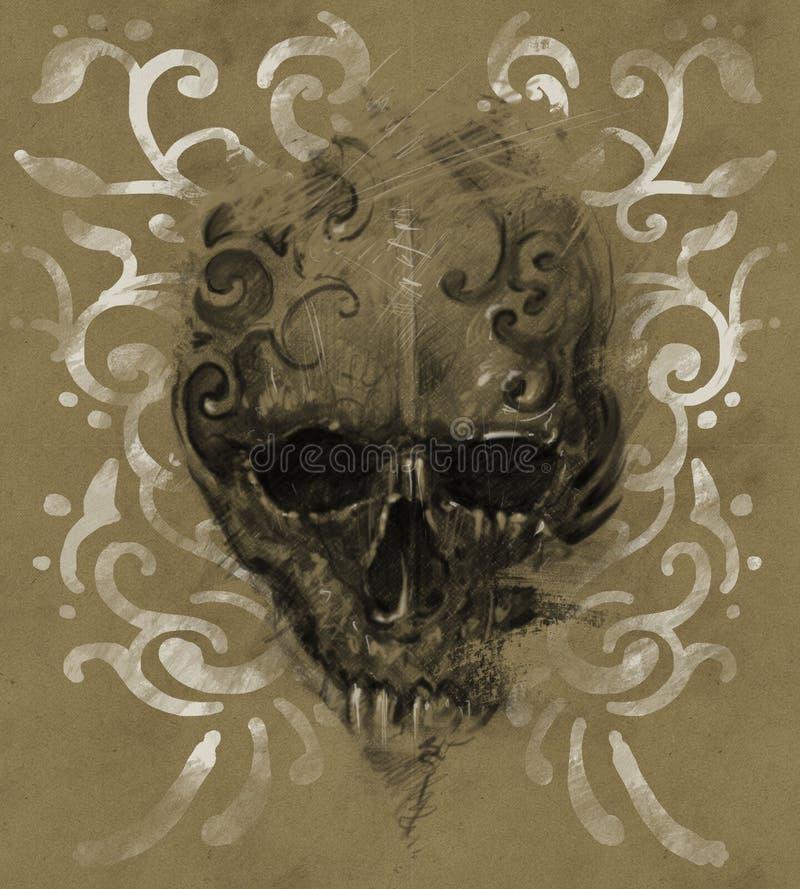 Tatúe el cráneo sobre el papel del vintage, los tribals blancos diseñan ilustración del vector