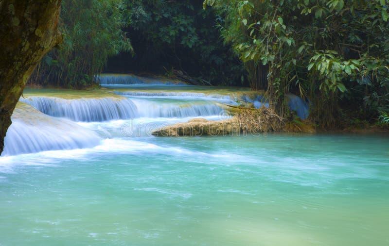 Tat Guangxi Waterfall Luang Prabang arkivfoto