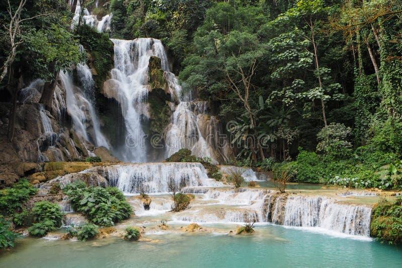 Tat Kuang Si Waterfalls in Luang Prabang fotografie stock