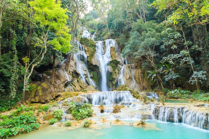 Tat Kuang Si Waterfalls nel Laos fotografia stock libera da diritti