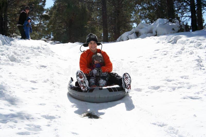 tata córki puszka wzgórza rasa śnieżna obrazy stock