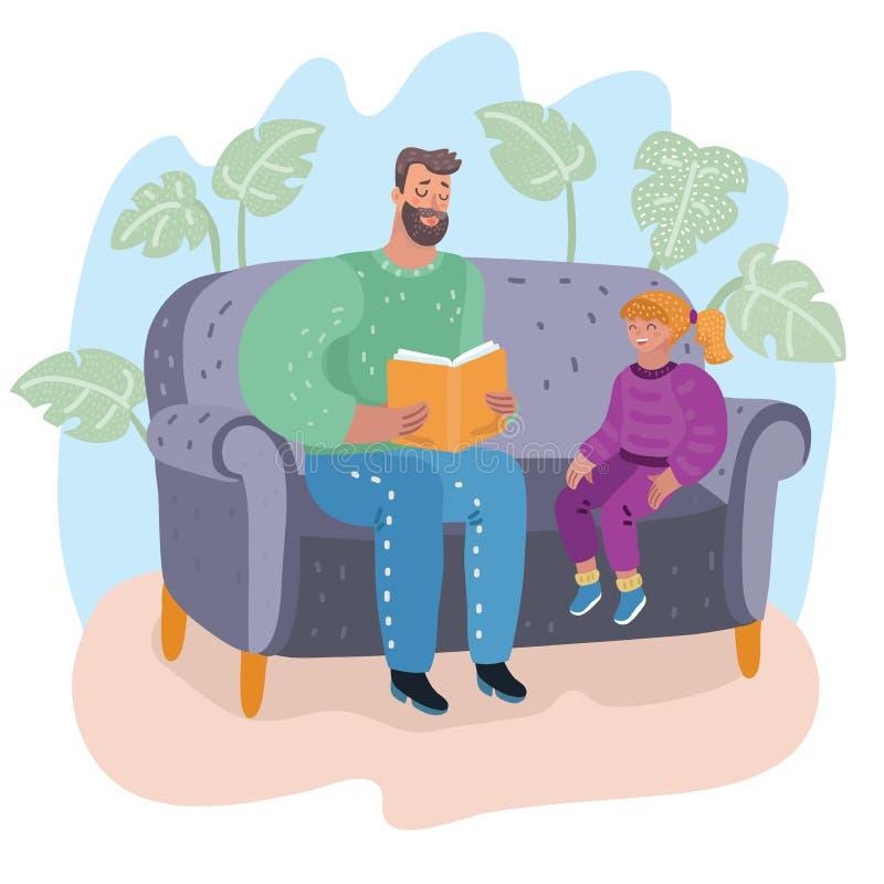 Tata czyta książkę jego córka ojcostwo ilustracji