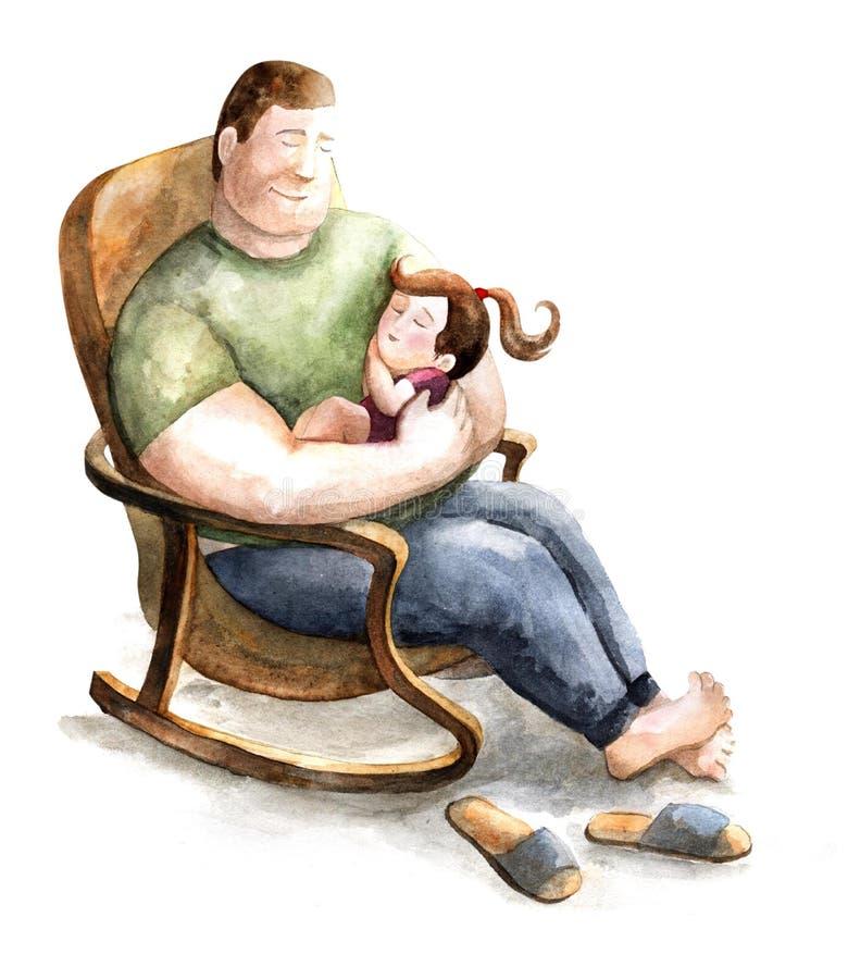 Tata i córka ojcostwo Dzieciństwo poojcowscy uczucia Miłość dla dzieci ilustracja wektor