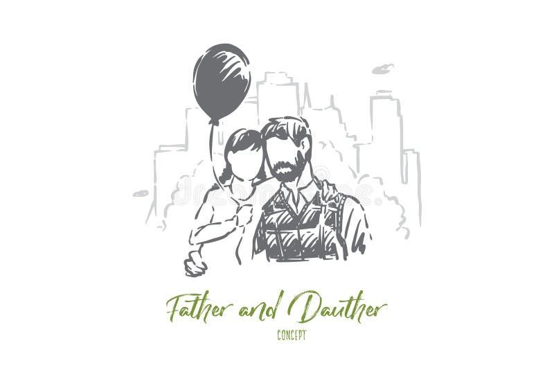 Tata i mały córki przytulenie, szczęśliwy ojcostwo, dziecka mienia balon, więź uczuciowa, rodzic z dzieciakiem plenerowym ilustracji