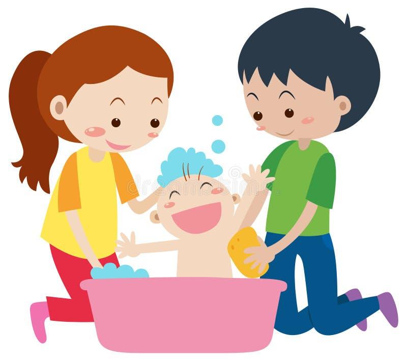 Tata i mama daje skąpaniu dziecko royalty ilustracja