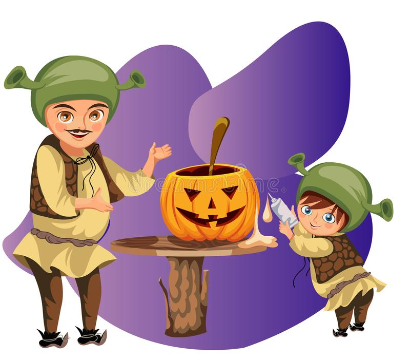 Tata z synem robi Halloweenowemu dyniowemu plakatowi Kreskówka ojciec z małym synusiem ubierał shrek cyzelowanie i kostiumy ilustracji
