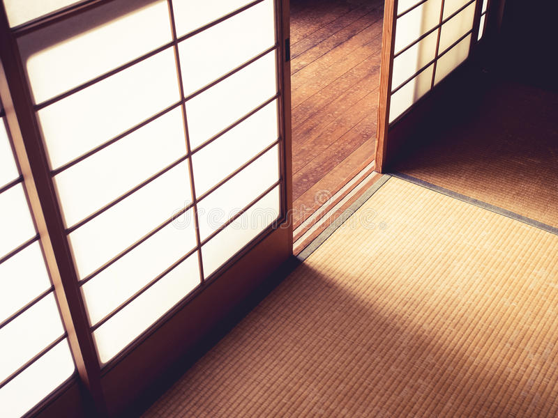 Tatami Floor with Door panel Japanese style room details. Tatami Floor with Door panel Japanese style room Interior details stock photos