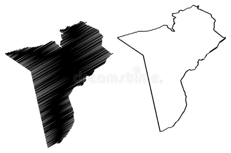 Tataouine Governorate Governorates of Tunisia, Republic of Tunisia map vector illustration, scribble sketch Tataouine map.  royalty free illustration