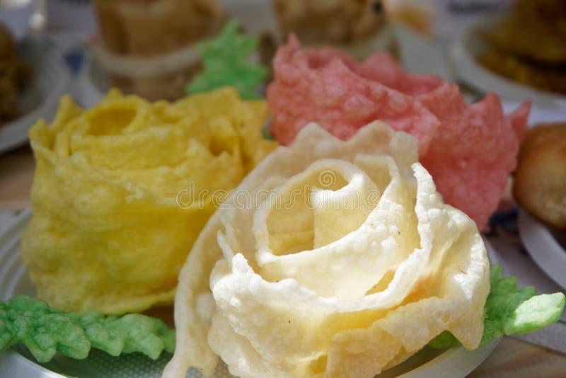 Tatar national dish - brushwood Urama, twisted in the form of flowers. Folk cuisine royalty free stock images