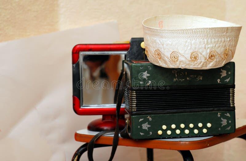 Tatar nationale harmonika Bij de bovenkant van de harmonika is er a royalty-vrije stock afbeelding