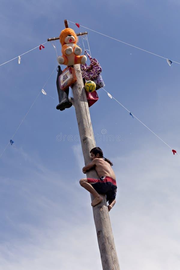 Tatar traditional entertainment - climbing on log royalty free stock image