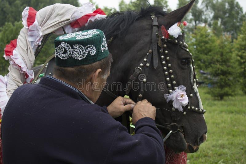 Tatarstan, Rusland het paard in feestelijke die uitrusting aan een kar wordt uitgerust Op de kar zit een kerel met een meisje Sab stock fotografie
