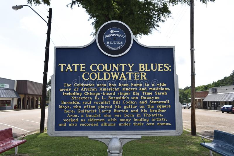 Tate County Blues Marker, Coldwater, ms foto de archivo libre de regalías