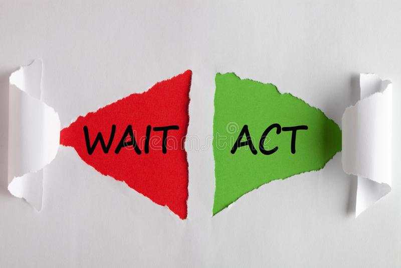 Taten-Wartezeit-Konzept stockbild