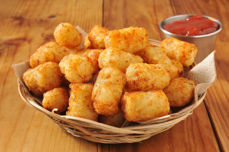 Tater tots and catsup royalty free stock photo
