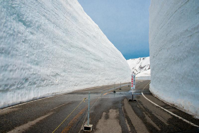 Tateyama is a popular place for the snow wall, Yuki-no-Otani. Travelers can walk between the sn royalty free stock photo