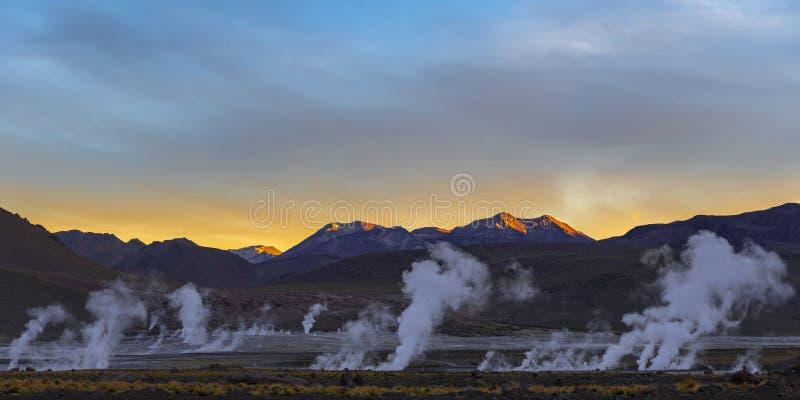 Tatio gejzeru pole, Atacama pustynia, Chile fotografia royalty free