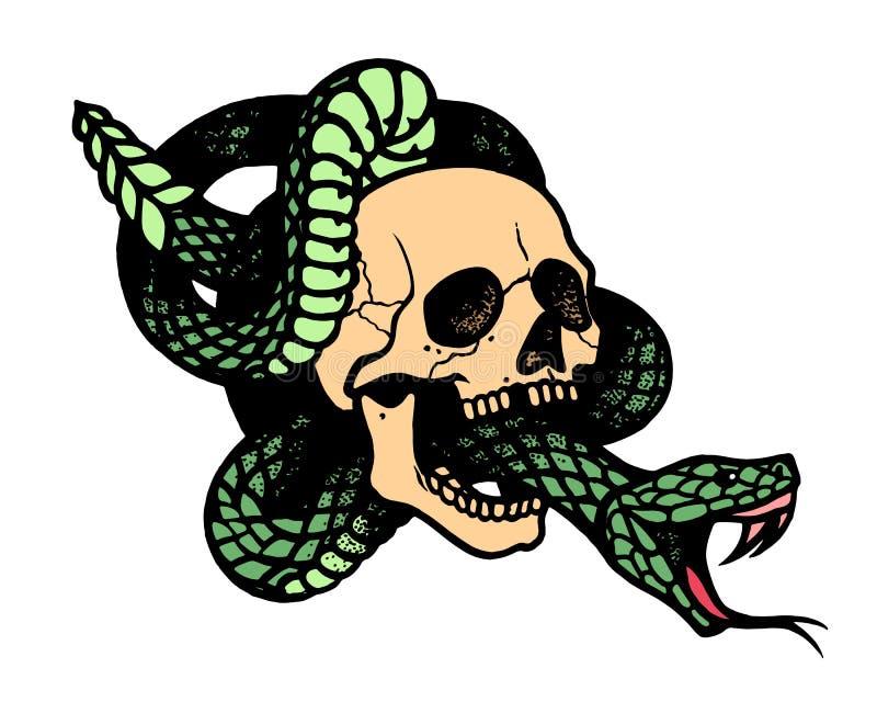 Tatoegering met schedel en slang Geïsoleerdee vectorillustratie royalty-vrije illustratie