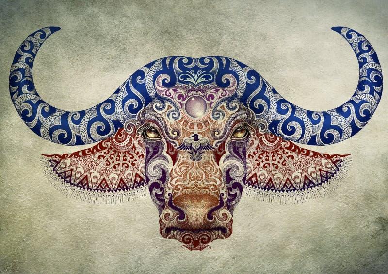 Tatoegering, stier, buffelshoofd met hoornen royalty-vrije illustratie