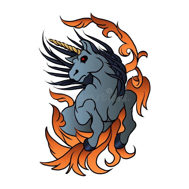 tatoegering van de eenhoorn de oude school royalty-vrije illustratie