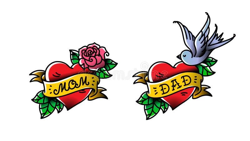 Tatoegeringen met de inschrijving van Mamma en Papa Twee harten met een bloem en een vogel Vector vlakke tatoegering Gelukwens vo stock illustratie