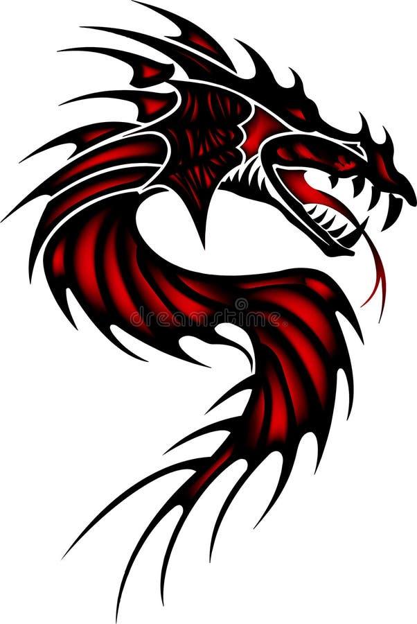Tatoegerings rode draak stock afbeeldingen