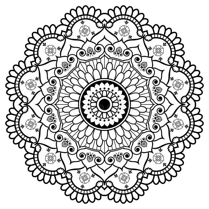 tatoo或卡片的Mehndi印地安无刺指甲花花卉元素坛场 库存例证