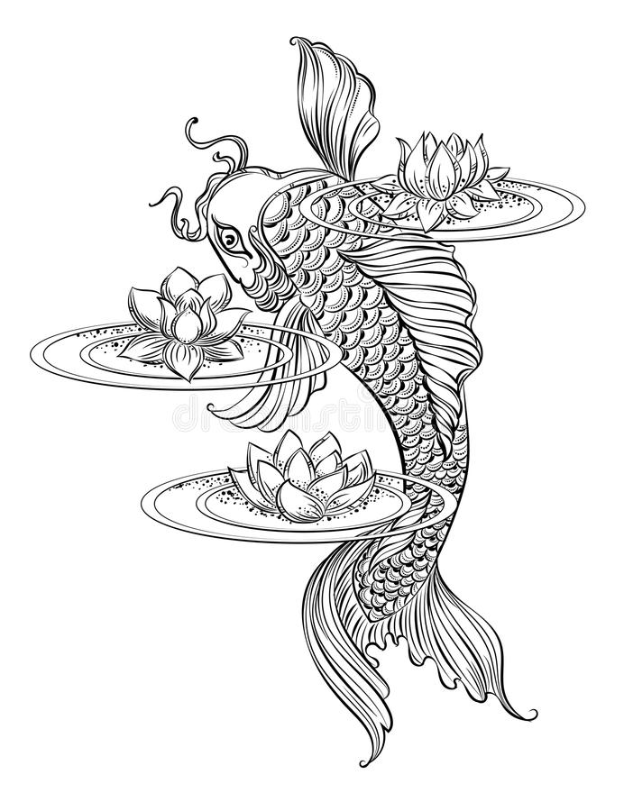 Tatoo 2 de la carpa de Koi ilustración del vector