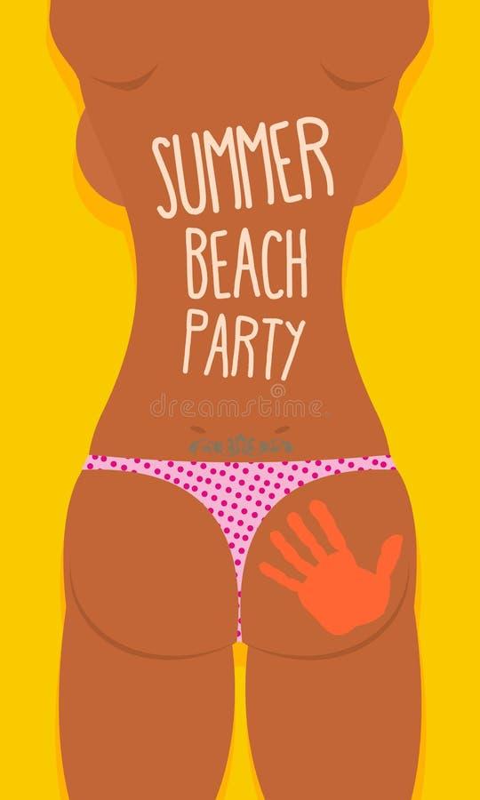 Tatoo sexy de fille de bikini Affiche de partie de plage d'été Illus de vecteur illustration stock