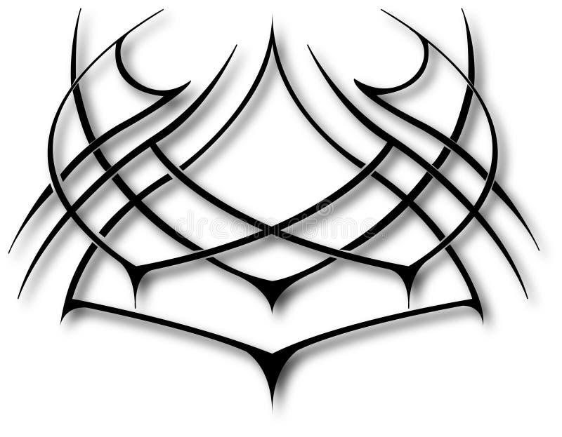 Tatoo tribal preto sobre o branco ilustração royalty free