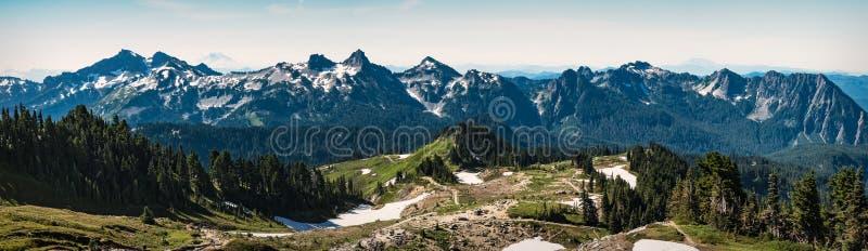 Tatoosh-Gebirgszugpanorama im Berg Rainier National Park lizenzfreie stockfotos