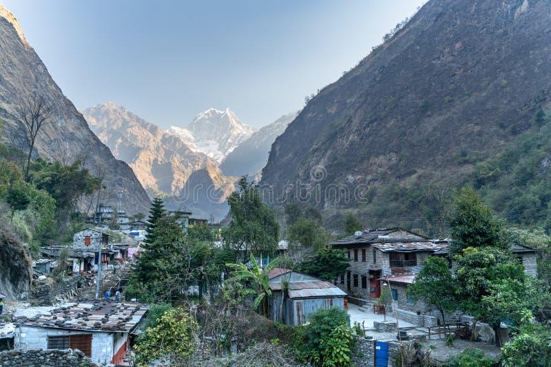 Tatopani/Nepal-11.03.2019: The view of Tatopani village in Kathmandu.. The view of Tatopani village in Kathmandu. The photo was taken during my one year trip stock photo