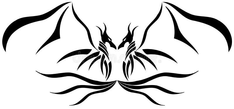 Tatouage à deux têtes de dragon illustration libre de droits