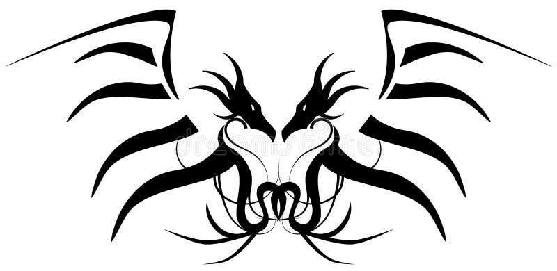 Tatouage deux t tes de dragon illustration de vecteur - Tatouage a deux ...