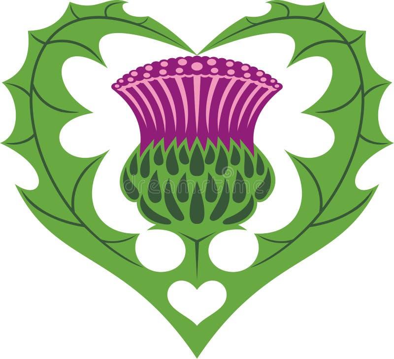 Tatouage écossais de coeur et de chardon illustration de vecteur