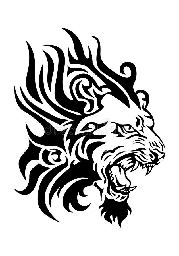 Tatouage ardent de tête de lion illustration de vecteur