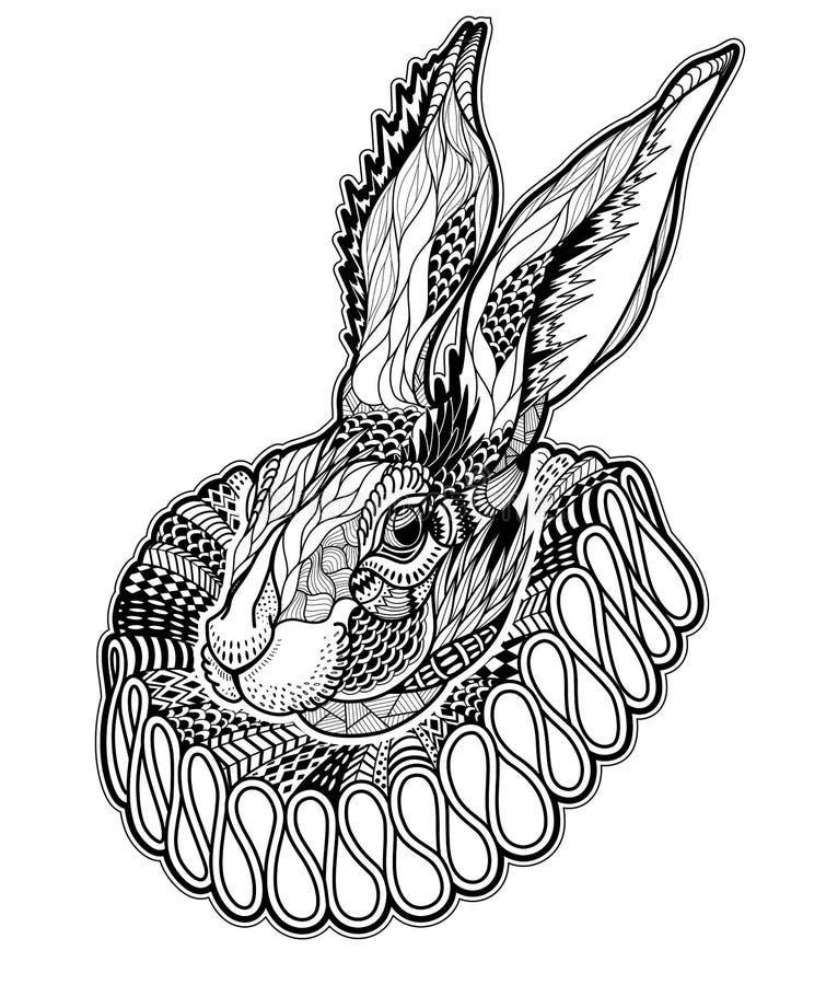 Tatouage avec le lapin dans un jabot illustration de vecteur