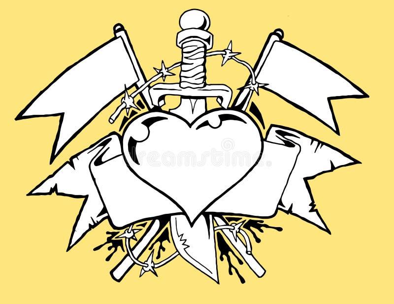 Tatouage b/w de coeur illustration de vecteur