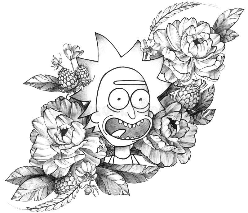 Tatouage détaillé à l'encre noire Rick drôle en composition florale illustration de vecteur