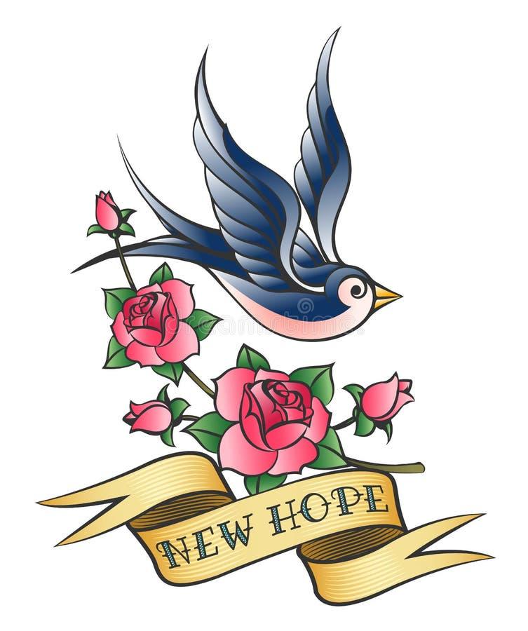 Tatouage d'amour avec l'hirondelle et la branche de Rose illustration de vecteur