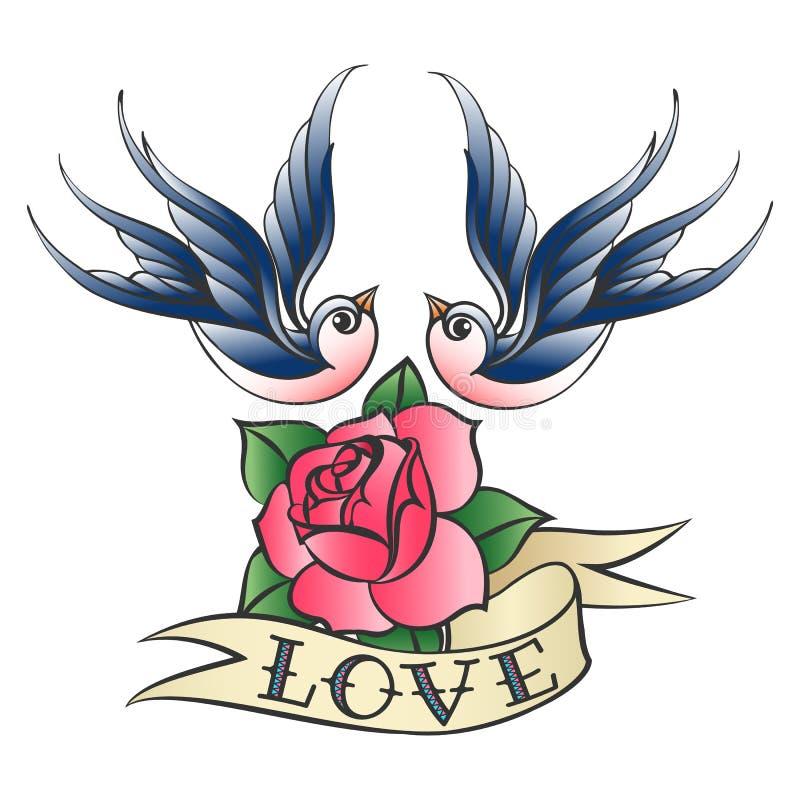 Tatouage d'amour avec les hirondelles et la Rose illustration libre de droits