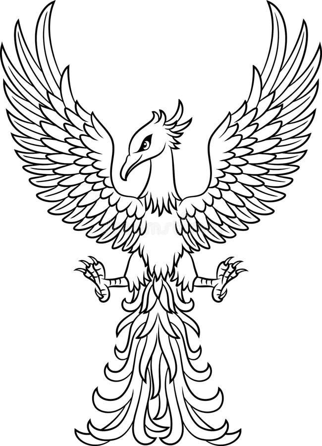 Tatouage d'oiseau de Phoenix d'isolement sur le fond blanc illustration libre de droits
