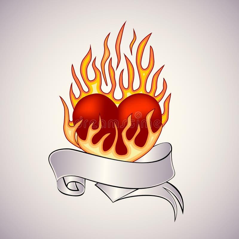 Tatouage d'un coeur flamboyant illustration libre de droits