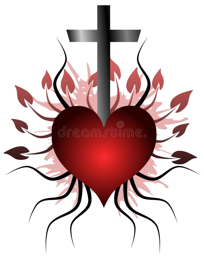 Tatouage de coeur image stock illustration du catholique 37094125 - Image tatouage coeur ...