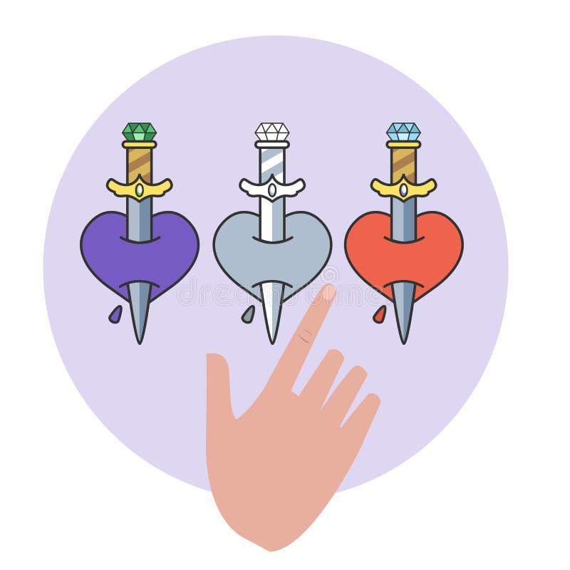 Tatouage de couteau dans le style traditionnel Vieille école illustration stock
