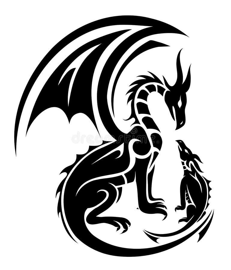 Tatouage de deux dragons illustration stock