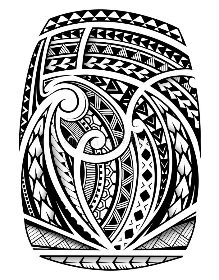 Tatouage de douille dans le style ethnique polynésien illustration stock